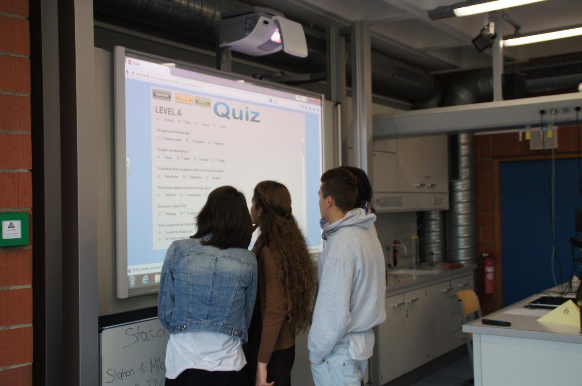 Schüler vor einer Leinwand beschäftigen sich mit einer Quiz Aufgabe